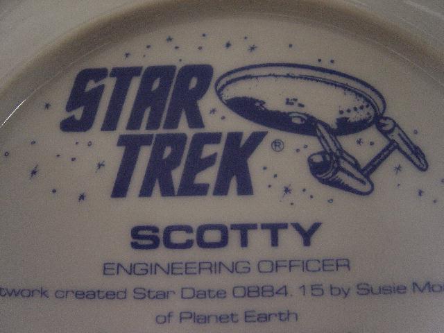 Rare Star Trek Collectible Plate Captain Kirk/Scotty Misprint on Back